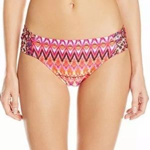 NWT Kenneth Cole Reaction Coral Geo Swim Hipster S